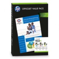 1x Original Value Pack HP 933xl Cyan, Magenta, Yellow für HP Officejet 6600 E-ALL-IN-ONE + 100 Blatt Ti-Sa Fotocards 10x15 cm 210g glossy